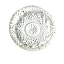 Load image into Gallery viewer, Crystal Bobeche 4 inches Clear with No Center Hole, 6 Gold Pins