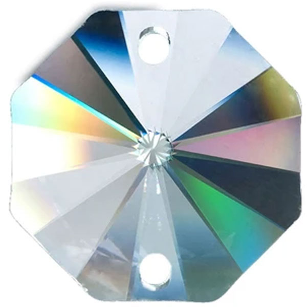 Octagon Crystal 40mm Clear Prism with Two Holes