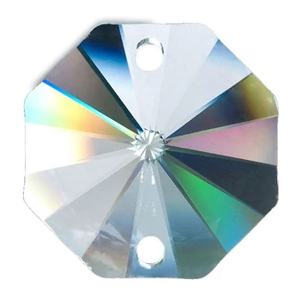 Octagon Crystal 32mm Clear Prism with Two Holes