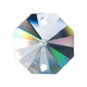 Octagon Crystal 28mm Clear Prism with Two Holes