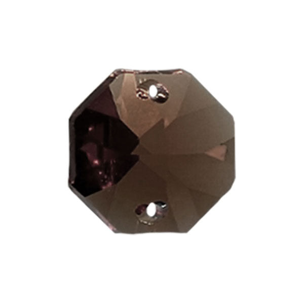 Octagon Crystal 14mm Black Diamond Prism with Two Holes