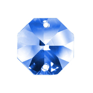 Octagon Crystal 18mm Blue Prism with Two Holes