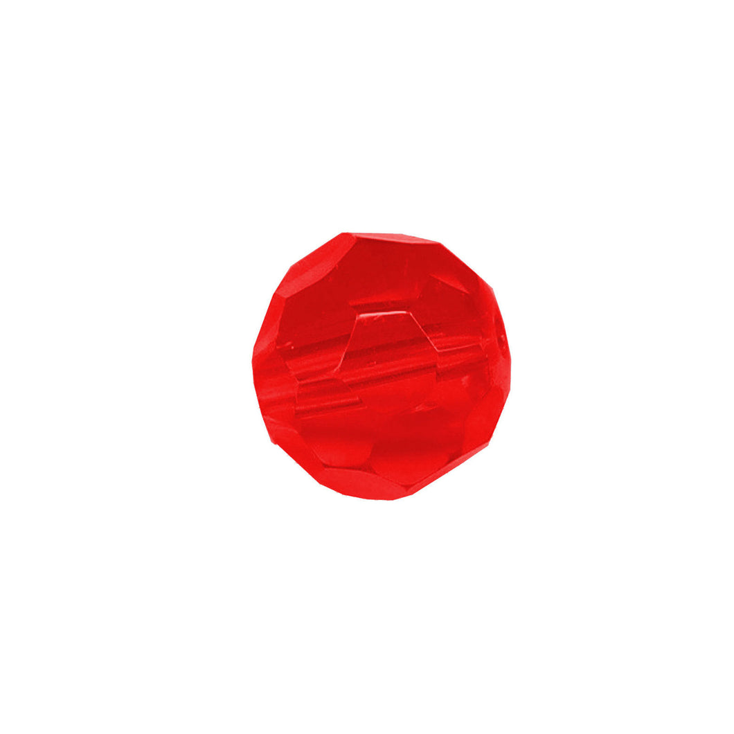 Faceted Round Bead Crystal 8mm Red Prism with Hole Through