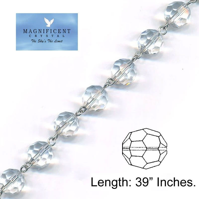 Magnificent Crystal Garland Clear 12mm Faceted Bead Strand