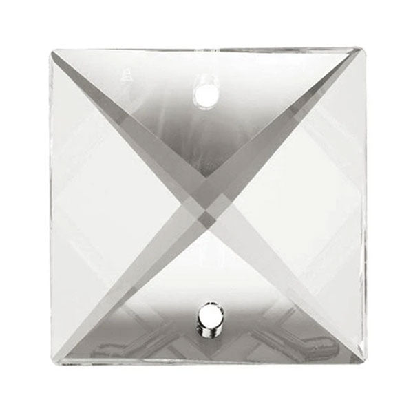 Square Crystal 22mm Clear Prism with Two Holes