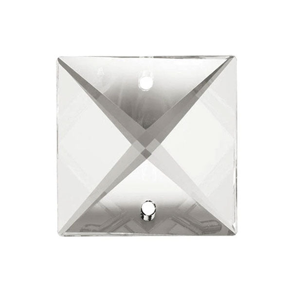Square Crystal 16mm Clear Prism with Two Holes