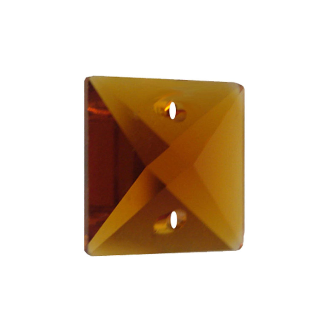 Square Crystal 14mm Amber Prism with Two Holes