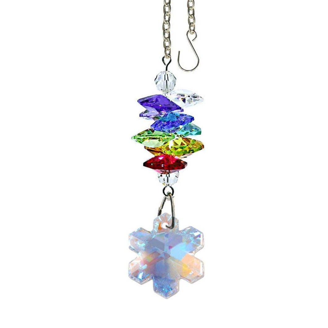 Crystal Ornament 3-inch Suncatcher AB Swarovski crystals Faceted Snowflake prism Rainbow Maker Made with Swarovski crystals