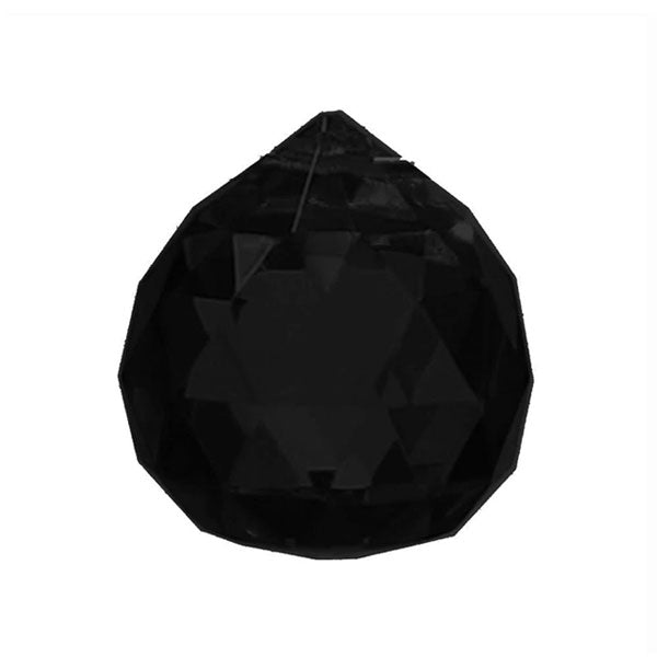Faceted Ball Crystal 20mm Black Prism with One Hole on Top