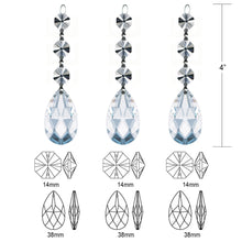 Load image into Gallery viewer, 3pcs Swarovski Spectra Lead Free Replacement Chandelier Pendants Almond Crystal Prisms Octagon Crystal Bead for Lamp Decoration