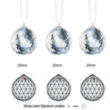 Load image into Gallery viewer, Swarovski Strass Prisms 3 Pcs Crystal Sun Catcher Clear 20mm Faceted Ball Prism Crystal Ornaments Rainbow Maker Package Deal