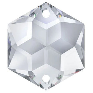 Swarovski Strass Crystal 28mm Clear Hexagon Star prism bead with Two Holes