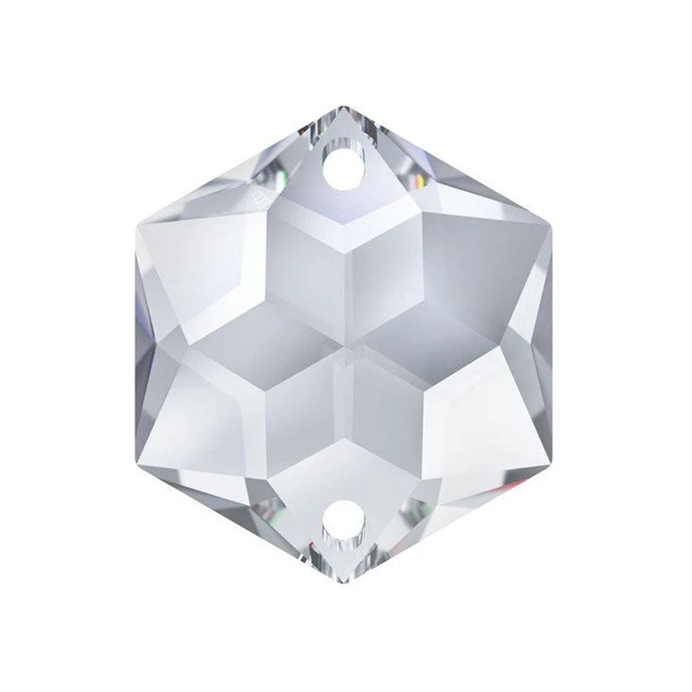 Swarovski Strass Crystal 22mm Clear Hexagon Star prism bead with Two Holes