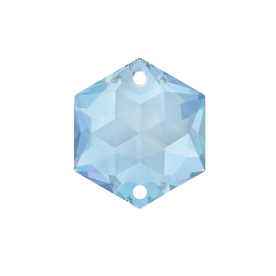 Swarovski Strass crystal 14mm Medium Sapphire Hexagon Star prism with Two Holes