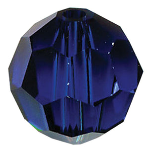 Swarovski Strass Crystal 10mm Dark Sapphire Faceted Round Bead with Hole Through