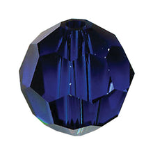 Load image into Gallery viewer, Swarovski Strass Crystal 8mm Dark Sapphire Faceted Round Bead with Hole Through