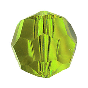 Swarovski Strass Crystal 8mm Light Peridot Faceted Round Bead with Hole Through