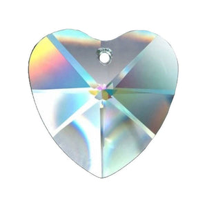 Heart Crystal 28mm Clear Prism with One Hole on Top