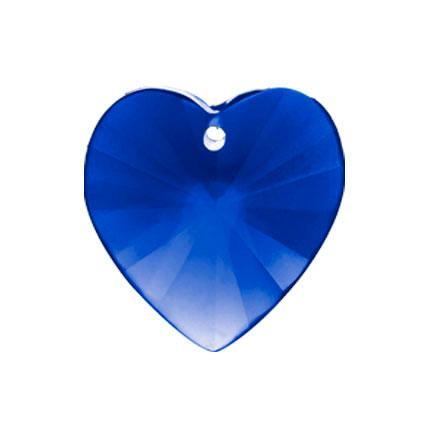 Heart Faceted Crystal 14mm Blue Prism with One Hole on Top