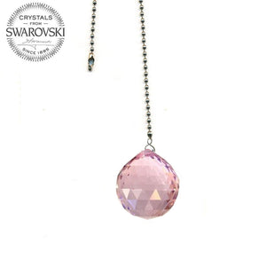 Fan Pulley Swarovski Strass crystal 40mm Pink Ball Prism
