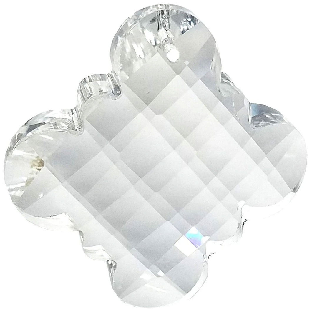 Faceted Clover Crystal 2.5 inch Clear Prism with One Hole on Top