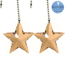 Load image into Gallery viewer, Crystal Fan Pully 43mm Golden Shade Star Prism Magnificent Brand
