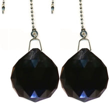 Load image into Gallery viewer, Crystal Fan Pully 30mm Black Faceted Ball Prism Magnificent Brand