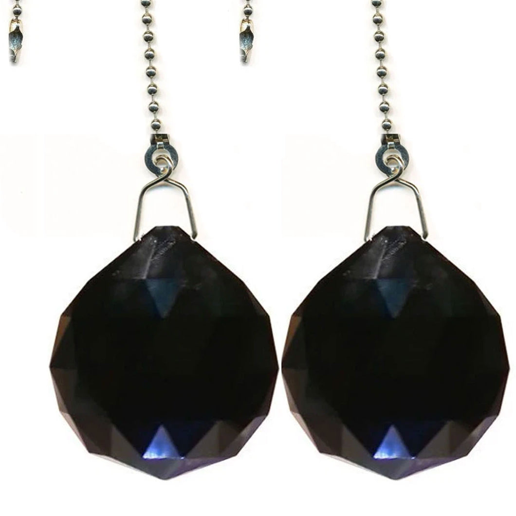 Crystal Fan Pully 30mm Black Faceted Ball Prism Magnificent Brand