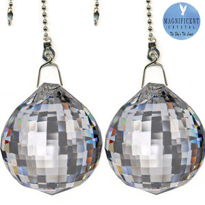 Crystal Fan Pully 40mm Clear Faceted Ball Prism Magnificent Brand
