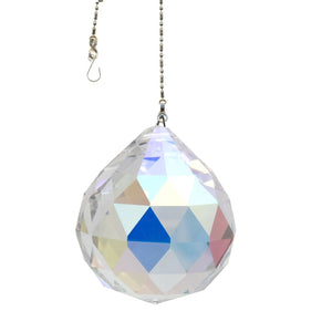 Crystal Suncatcher 40mm Aurora Borealis Faceted Ball Prism