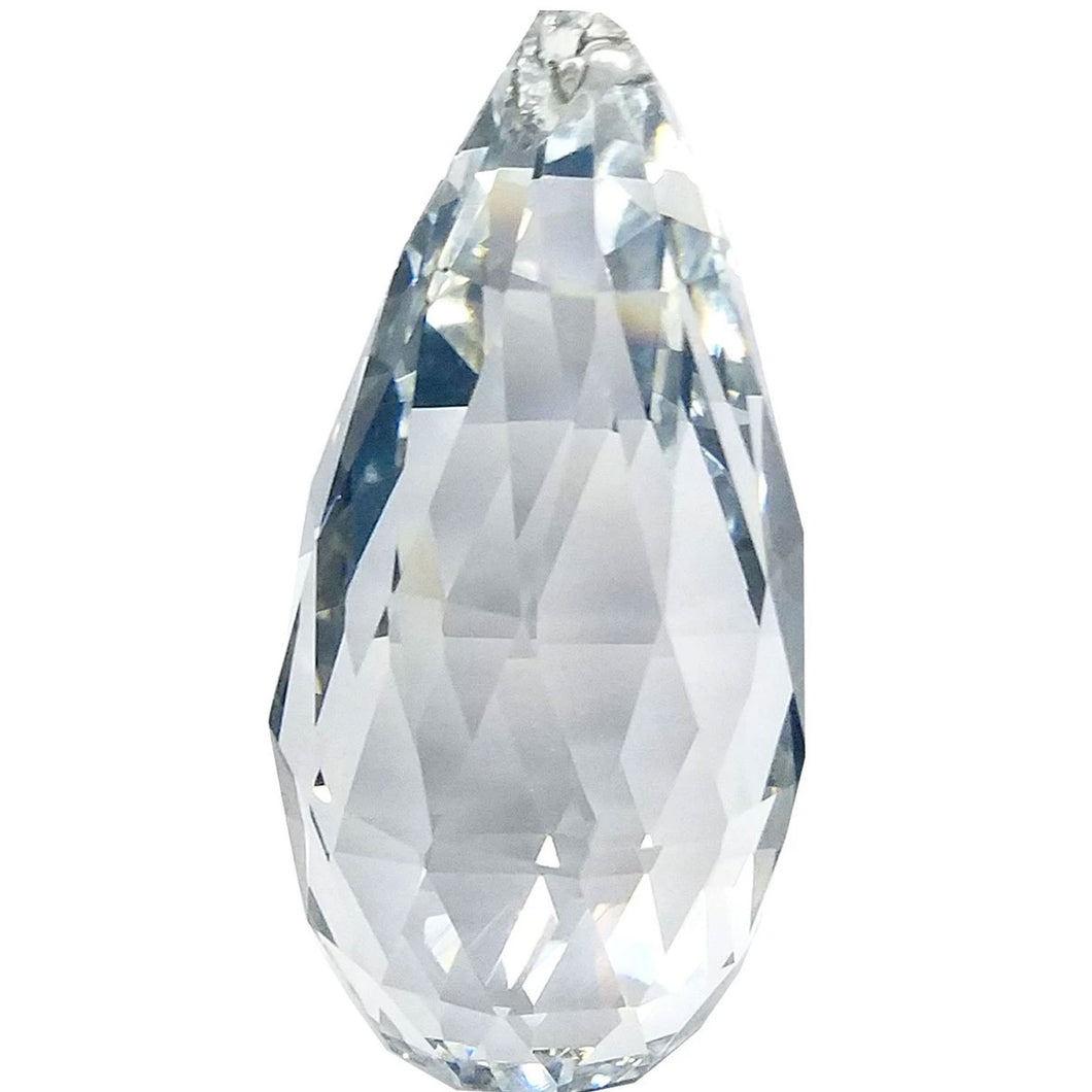 Faceted Pear Crystal 3.5 inch Clear Prism with One Hole on Top