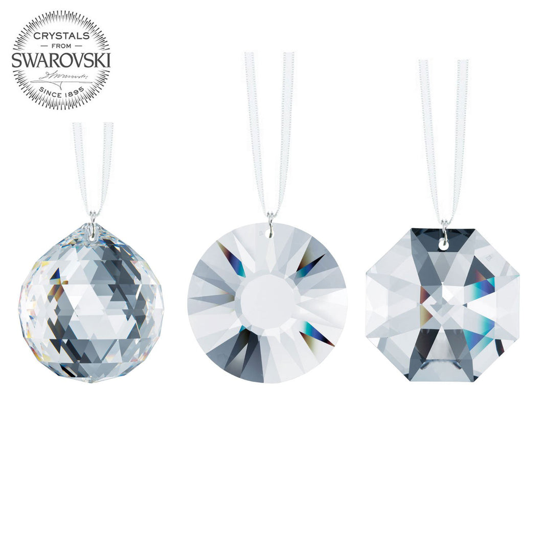 Swarovski Strass Clear Crystals 40mm Faceted Crystal Chandelier Prisms Ceiling Lamp Lighting Hanging Drop Pendants Wedding Decoration 3pcs