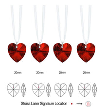 Load image into Gallery viewer, Swarovski Strass Prisms 4 Pcs Crystal Bordeaux Red Heart Prism SunCatcher Ornaments