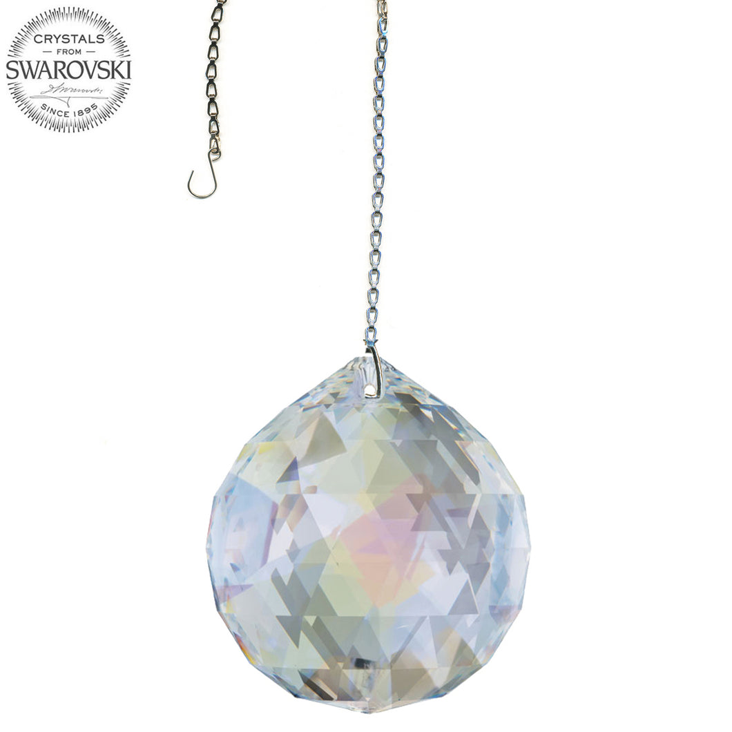 Crystal Suncatcher 40mm Swarovski Strass Blue AB Faceted Ball Prism