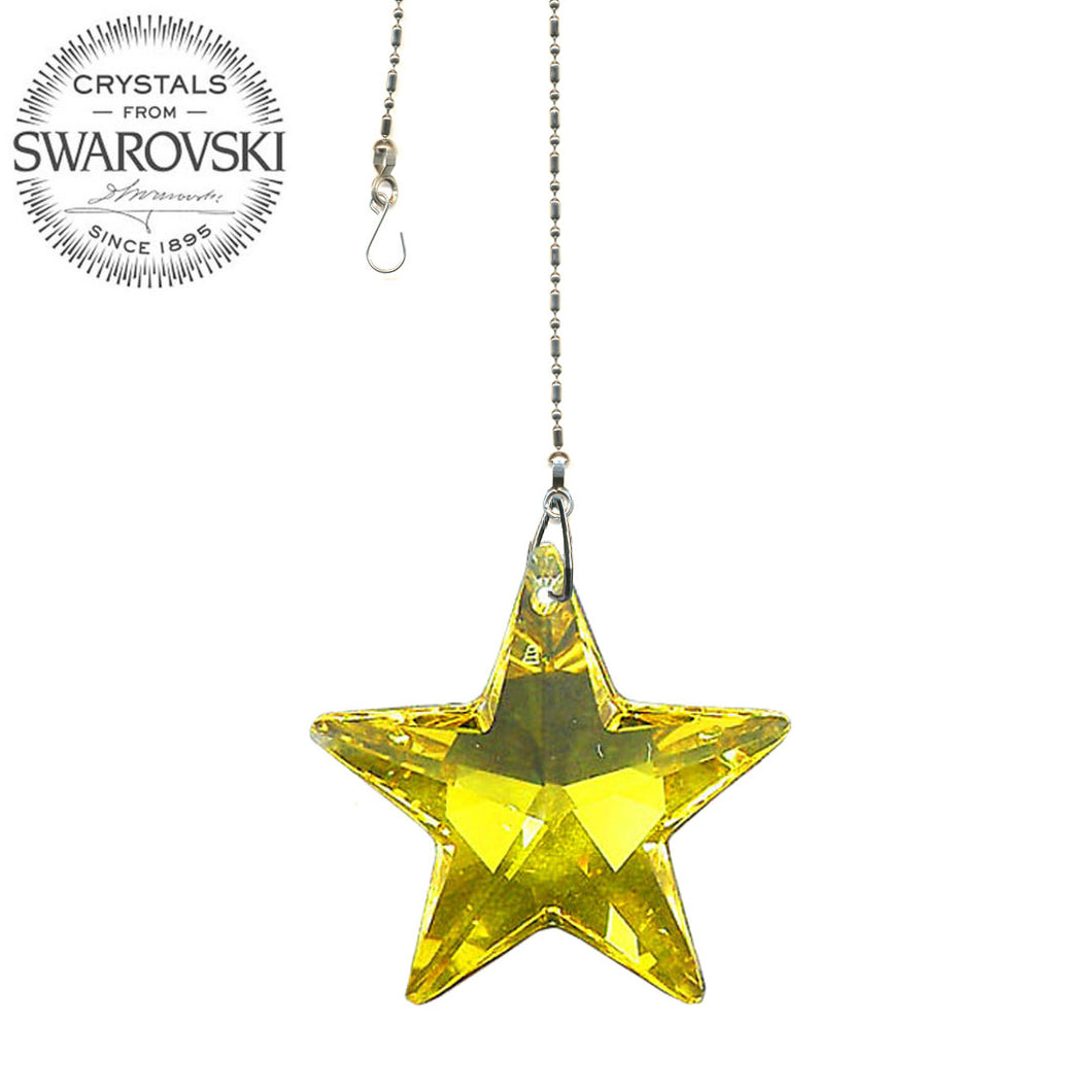 Crystal Suncatcher 28mm Swarovski Strass Light Topaz Star Prism