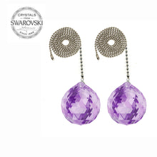 Load image into Gallery viewer, Ceiling Fan Pull Chain 30mm Swarovski Strass Violet Faceted Ball Prism Fan Pulley Set of 2
