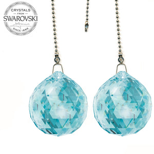 Fan Pull 30mm Swarovski Antique Green Ball Prism Decorative Ceiling Fan Pull Chain Set of 2
