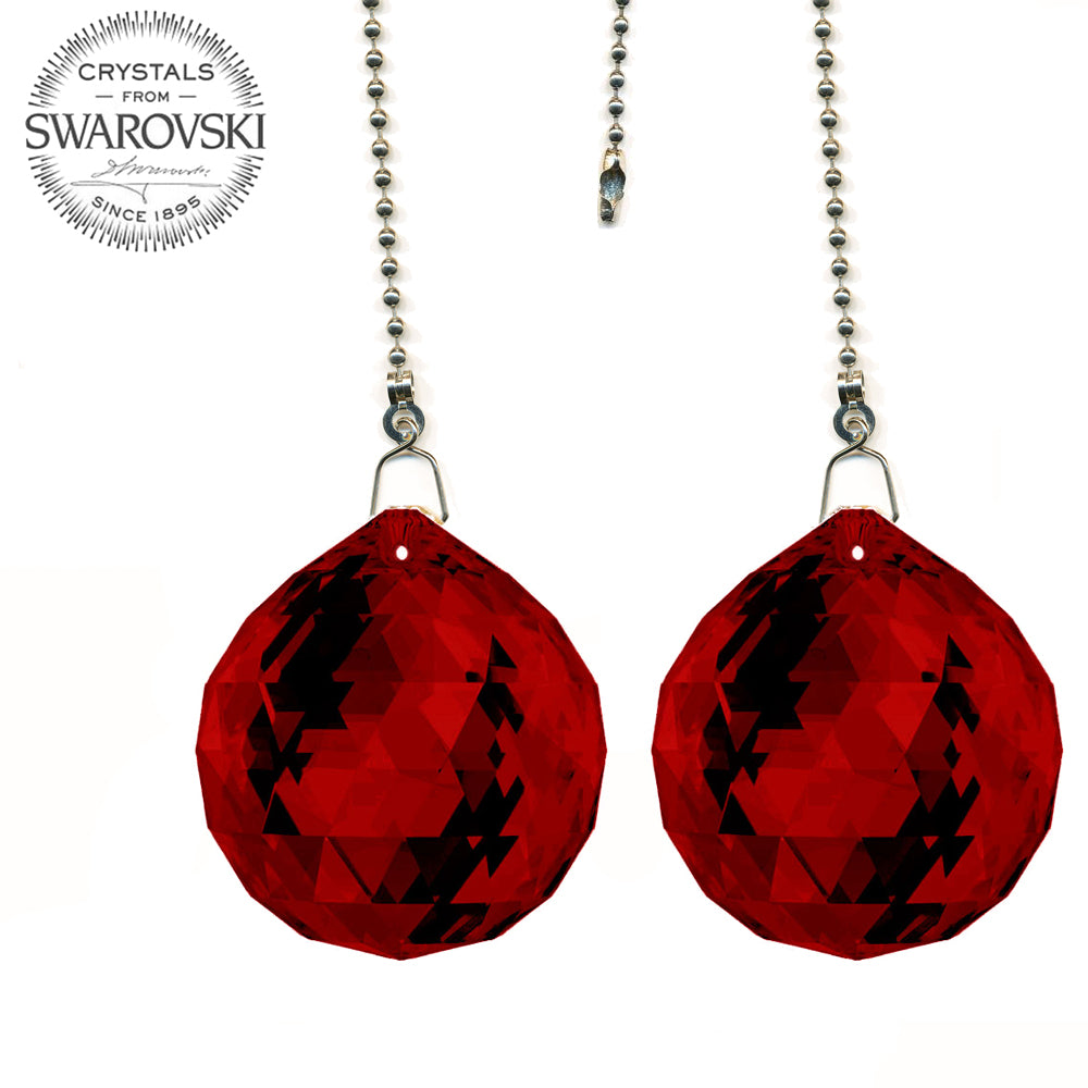 Fan Pull 30mm Swarovski Bordeaux Ball Prism Decorative Ceiling Fan Chain Pulls Set of 2