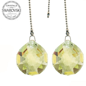 Ceiling Fan Pull Chain 30mm Swarovski Strass Light Topaz Faceted Ball Prism Fan Pulley Set of 2