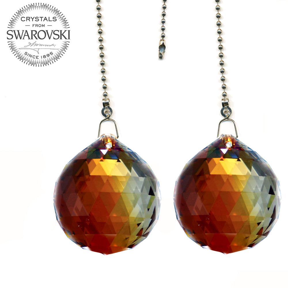 Fan Pull 30mm Swarovski Red Magma Ball Prism Crystal Ceiling Fan Chain Pull Ornaments Set of 2