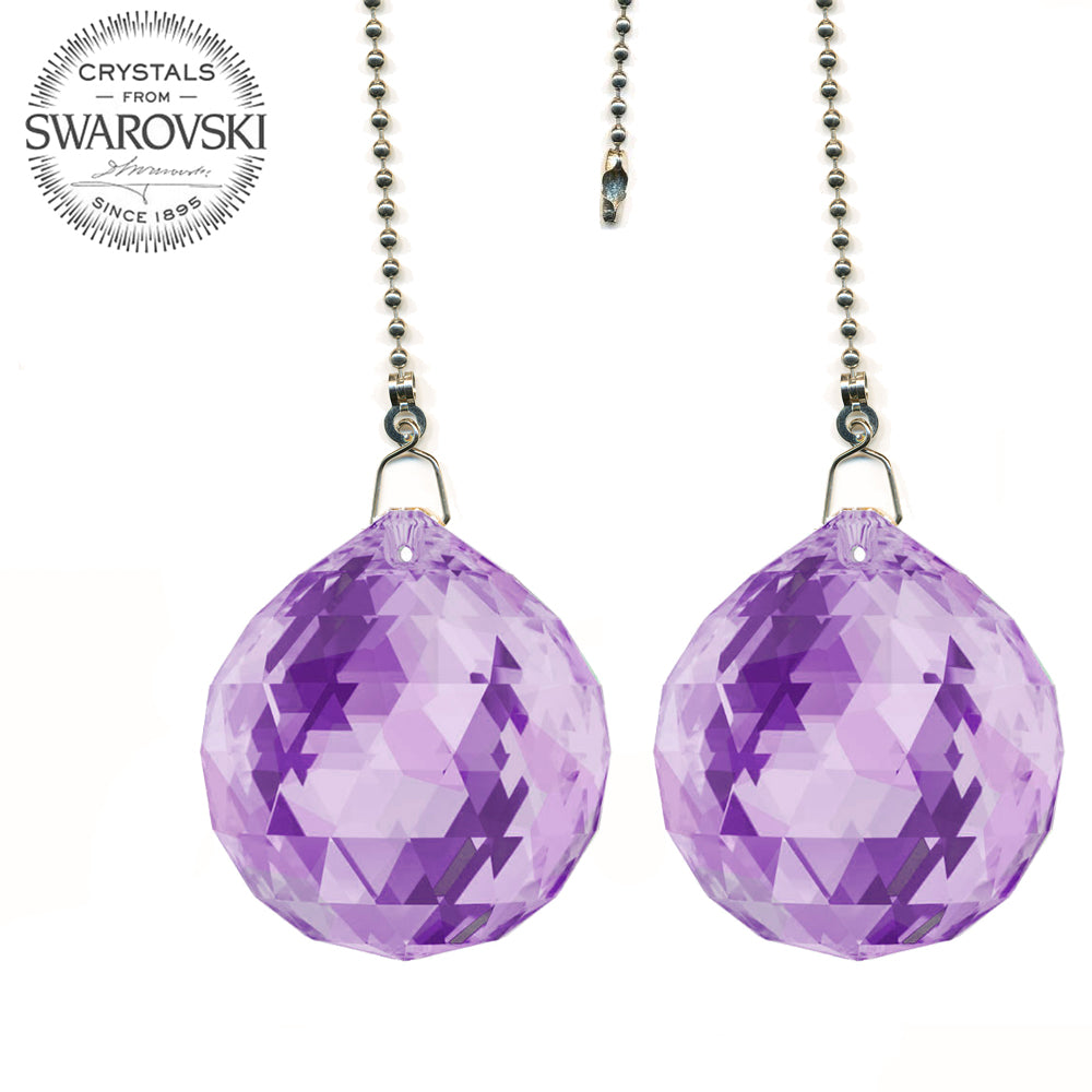 Ceiling Fan Pull Chain 30mm Swarovski Strass Violet Faceted Ball Prism Fan Pulley Set of 2