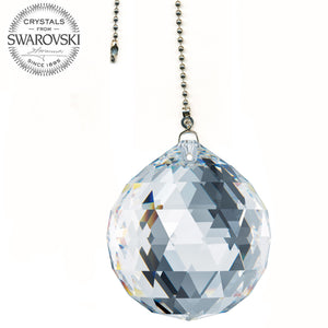 Fan Pulley Swarovski Strass crystal 40mm Clear Ball Prism