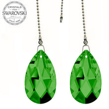 Load image into Gallery viewer, Fan Pulley Swarovski Strass crystal 2 in. Green Emerald Almond Prism