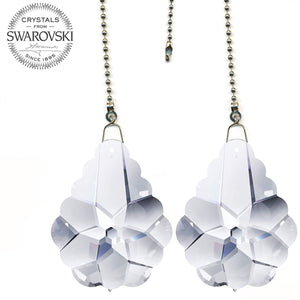 Ceiling Fan Pull Chain 2-inch Swarovski Clear Pendeloque Prisms Decorative Fan Chain Pulls Set of 2