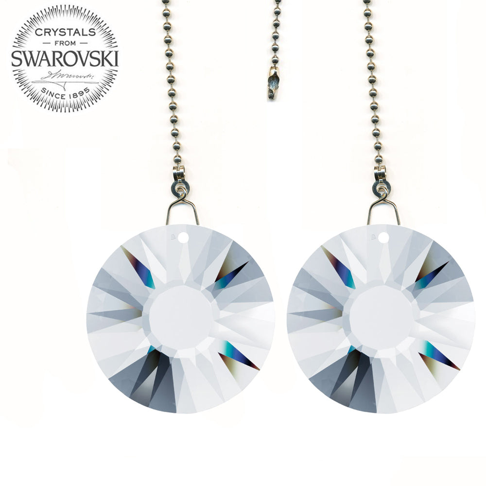 Ceiling Fan Pull Chain 40mm Swarovski Clear Sun Prisms Decorative Fan Chain Pulls Set of 2