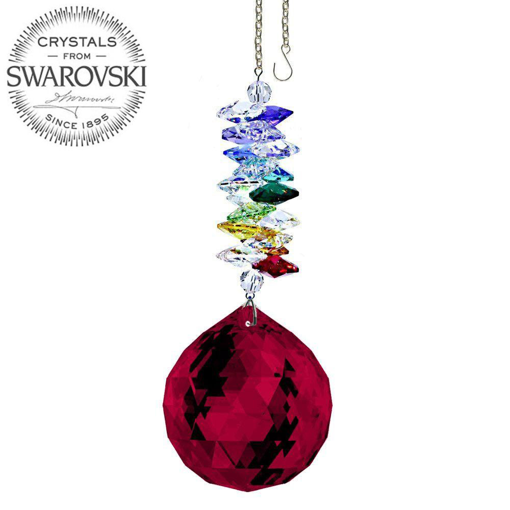 Crystal Ornament 5 inch Suncatcher Bordeaux Ball Crystal Rainbow Maker with Swarovski crystal Prisms