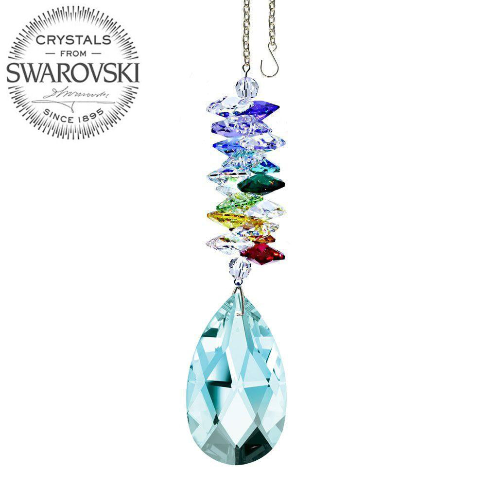 Crystal Ornament 5 inch Suncatcher Antique Green Almond Crystal Rainbow Maker with Swarovski crystal Prisms