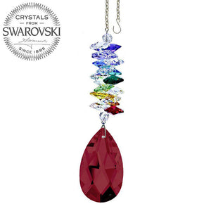 Crystal Ornament 5 inch Suncatcher Bordeaux Almond Crystal Rainbow Maker with Swarovski crystal Prisms