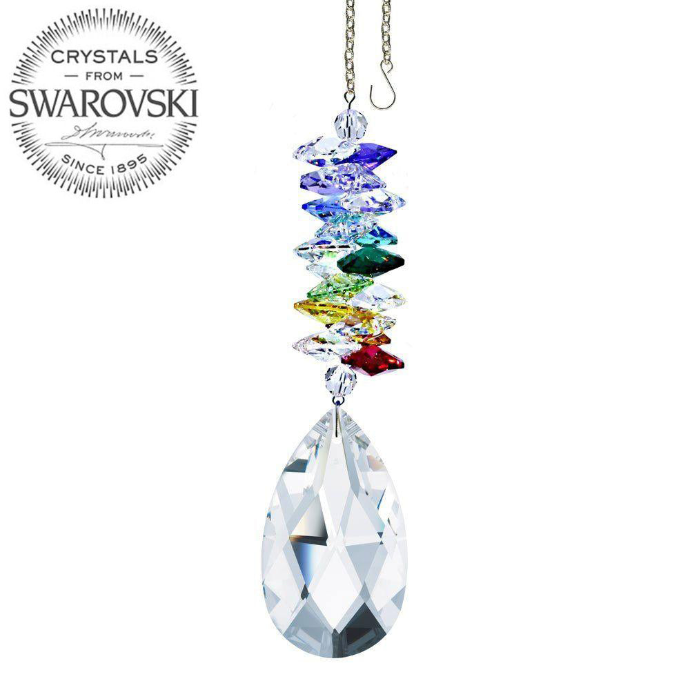Crystal Ornament 5 inch Suncatcher Clear Almond Crystal Rainbow Maker Made with Swarovski crystals