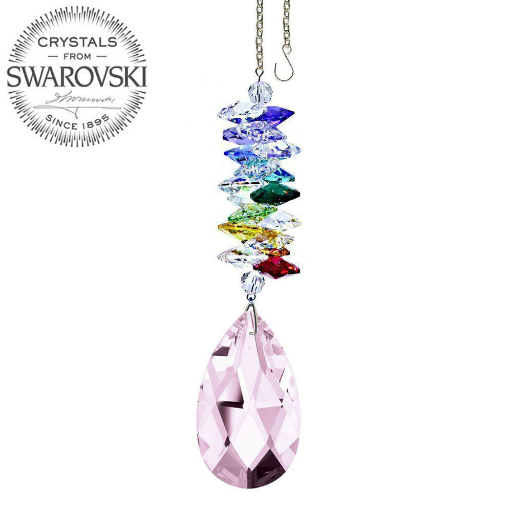 Crystal Ornament 5 inch Suncatcher Rosaline Almond Crystal Rainbow Maker with Swarovski crystal Prisms